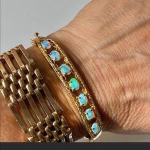 14k Gold Australian opal bangle bracelet